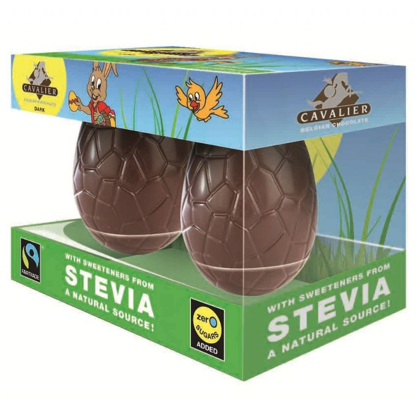 Small Easter Eggs STEVIA No Sugar Added Free CAVALIER Dark Chocolates Twin Pack 100g